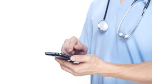 doctor with smart phone